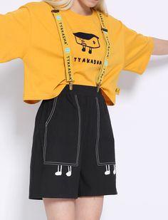 2015TYAKASHA塔卡沙城市系列黄色纯棉站立小房子链条绣短款T恤-淘宝网