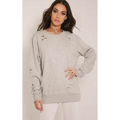 Jadey Grey Ripped Oversized Sweatshirt-L ($27) ❤ liked on Polyvore featuring tops, hoodies, sweatshirts, grey, sweatshirt hoodies, hooded pullover sweatshirt, oversized hoodie, grey sweatshirt and gray sweatshirt