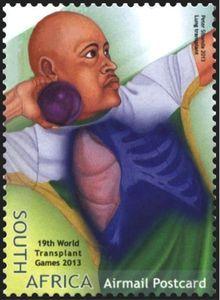 Stamp: Lung Transplant, Shot-put (South Africa) (World Transplant Games) Mi:ZA 2227 Shot Put, Lunges, Postage Stamps, World, Door Bells, Stamps, The World