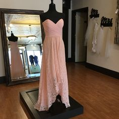 Chiffon & Lace High-Low Bridesmaid Dress   Available now at our Farmington, Missouri boutique. Size 10 Runs Small) High Low Bridesmaid Dresses, Bridesmaids, Prom Dresses, Formal Dresses, Farmington Missouri, Fall Wedding, Strapless Dress Formal, Chiffon, Size 10