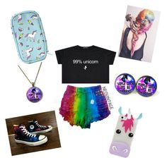 """99% unicorn"" by leilani1246 ❤ liked on Polyvore featuring beauty, Converse and Forever 21"
