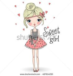 Young, beautiful, cute, sweet girl in a charming dress. Vector illustration.