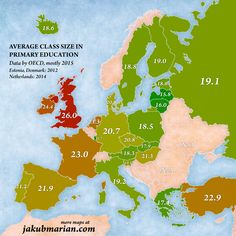 Average class size in primary education (Europe) Geography Map, Teaching Geography, World Geography, Teaching History, History Education, Primary Education, Elementary Education, Primary School, European Map
