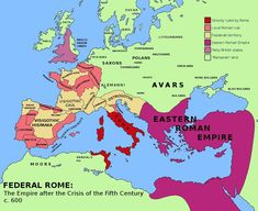 Federal Rome – a very legalistic Roman view of the empire in 500 CE. It shows the barbarian kingdoms as foederate land, and those provinces not paying their taxes to a barbarian overlord as seceded. The Western Empire under Odoacer is confined to Italy. Maps History, Roman History, European History, World History, American History, Ancient Rome, Ancient History, Ancient Aliens, Ancient Greece