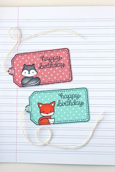 I have a lawn fawn project to share today, inspired by the tags found in * this * pin. Happy Birthday Tag, Birthday Tags, Card Tags, Gift Tags, Lawn Fawn Blog, Lawn Fawn Stamps, Paper Smooches, Handmade Tags, Tag Photo