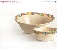 NOW ON SALE Decorative clay bowl with by hamutalbenjoceramics, $38.25