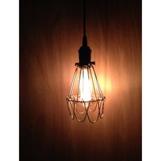 Industrial Wire Cage Pendant Light, Rustic Style Pendant Lighting,... ($49) ❤ liked on Polyvore featuring home, lighting, ceiling lights, brass pendant light, flower pendant light, flower stem, flower lights and wire lights