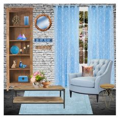 """""""Wood and Blue Challenge"""" by smilepapersdecor ❤ liked on Polyvore featuring interior, interiors, interior design, home, home decor, interior decorating, Yorkshire Home, Home Decorators Collection, Holly's House and Jonathan Adler"""