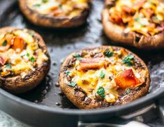 Try these amazing portobello mushroom recipes tonight! Portobello mushrooms are the start of the show in these delicious recipes, perfect for meat eaters,… Bacon Recipes, Appetizer Recipes, Low Carb Recipes, Cooking Recipes, Healthy Recipes, Bacon Appetizers, Mushroom Appetizers, Delicious Recipes, Dinner Recipes