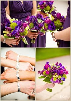 purple and green bouquets