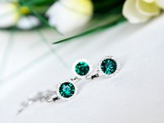 emerald green bridesmaids jewelry set art deco clear by sestras, $44.90