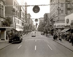 Holiday cheer was found by looking south on Granby Street from Freemason Street in Downtown Norfolk. Taken around 1950