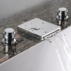 Waterfall Bathroom Sink Faucet (Widespread) - Chrome Finish At FaucetsDeal.com