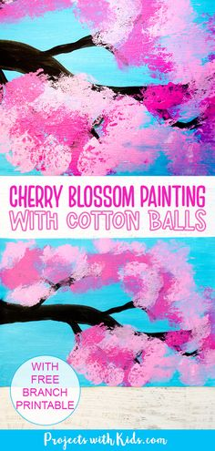 Cherry blossom painting with cotton balls is the perfect spring art project for kids. A fun painting project for kids of all ages! Spring Arts And Crafts, Spring Art Projects, Clay Art Projects, Kids Painting Activities, Spring Activities, Painting For Kids, Easy Crafts For Kids, Art For Kids, Kindergarten Art Lessons