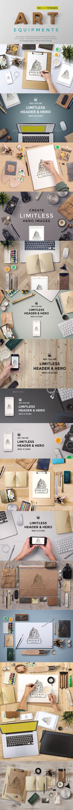 Art Equipments Mock Up - Hero Images PSD Template Graphics. Download here: http://graphicriver.net/item/art-equipments-mock-up/9414880?s_rank=89&ref=yinkira