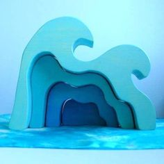 Wooden Toy, Ocean Wave Stacker Dollhouse - Mermaid Tales / Waldorf Toy via Etsy Mermaid Toys, Mermaid Crafts, Woodworking Toys, Woodworking Projects, Shape Puzzles, Stacking Toys, Waldorf Toys, Diy Toys, Children's Toys