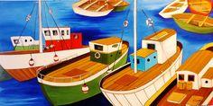 Barcas  120x60 cms  Óleo sobre lienzo