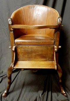"""To view, purchase or sign up, click or copy into your web browser: www.lookingforantiques.co.uk   A stunning and very rare George I Childs High Chair. It has a leather back with a removeable seat to access storage. Irish Circa 1715-20. It's hard to believe the age of this chair, and that it's still fit for purpose. Perish the thought! Additional seat measurements: 13"""" high x 17.5"""" wide x 12"""" deep.  £14,600 Inc Vat High Chairs, Antique Chairs, Web Browser, Tub Chair, Irish, Accent Chairs, Purpose, Armchair, Sign"""