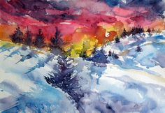 ARTFINDER: Sunset in winter by Kovács Anna Brigitta - Original watercolour painting on high quality watercolour paper. I love landscapes, still life, nature and wildlife, lights and shadows, colorful sight. Thes...