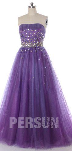 Romantique robe de soirée violette princesse bustier droit ornée de cristaux scintillant Prom Dresses, Formal Dresses, Bustier, Ball Gowns, Style, Fashion, Bun Hair, Vestidos, Purple Evening Dress