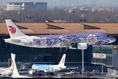 Airbus (cn Air China Seen at Beijing Capital International Airport - Painted in 'Purple Peony' Special Colors - Dec 2008 Airplane Decor, Airplane Window, Airplane Design, Commercial Plane, Commercial Aircraft, Airplane Painting, Fly Around The World, Air China, Aircraft Painting