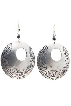 "African Hammered Large Antiqued Circle Earrings-(Silver)-Womens.  Handmade in Africa, hangs 3"" long.  Original handwork hammered by artists in Africa.  Well worth the price as a gift or for yourself, each one as an original and unique piece.  Please review shipping charges and details."