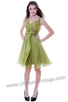 1950's Style Olive Chiffon & Satin Ruched Empire Waist - Love the detailing on the bodice. Great color for spring or summer wedding.