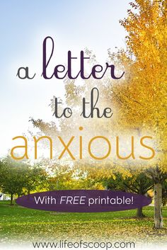 This is a letter from my heart to yours about the burdens of anxiety. Friend, you are not alone. Anxiety is tough. Find a bit of comfort - and some fighting verses - here. Anxiety doesn't have to control you any longer. Choose to fight it!