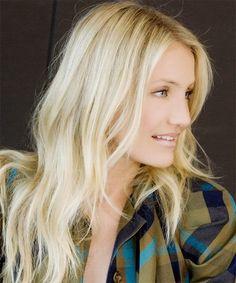 Cameron Diaz Glamorous Long Side Swept Hair Long-Layered-Blond-H