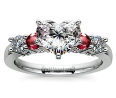 Heart Round Diamond & Ruby Gemstone Engagement Ring in White Gold  http://www.brilliance.com/engagement-rings/round-diamond-ruby-gemstone-ring-white-gold