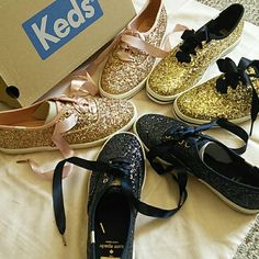 /Keds kate spade/ champion glitter sneakers Keds X kate spade champion gold glitter - classic Keds tennis shoe- with a twist! Sparkly gold crushed glitter- ties with black satin ribbon . Great condition! Size 8.5 kate spade Shoes Sneakers