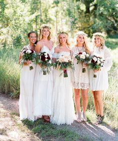 Bohemian bridesmaids in Free People dresses + flower crowns