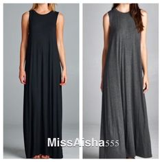 Sleeveless long dress Chic long sleeveless swing high necks Long maxi dress STUNNING! PLEASE comment on the size you want and will make you a personalized listing BUNDLE and save 10% AVAILABLE IN DARK GREY AND BLACK ( pre order NAVY BLUE and OLIVE) Dresses