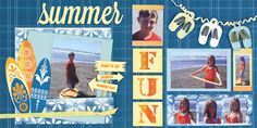 Double Page Layout - 7 photos Summer Fun