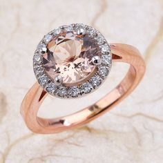 Morganite Engagement Ring in 14k Rose Gold And White Mix- Center Is A 8x8mm Round