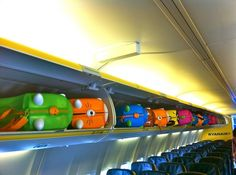 Trunki suitcases fill the overhead lockers on an airplane flight ; Disney Vacations, Disney Trips, Vacation Trips, Nice, Toddler Travel, Travel With Kids, Disney World 2015, Nice Ville