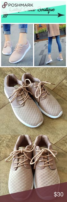 | new | Nude Lace-Up Sneakers Nude colored breathable cotton upper with rubber insole, lace-up style, true to size, very comfortable! ▪️No trades ▪️No offers ▪️Twitter: @My_LatestCraze Latest Craze Boutique Shoes Sneakers