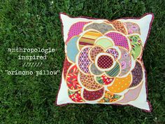 DIY {Anthropologie Knock-Off} Inspired 'Orimono Pillow' | Stuff Steph Does (with template for flower design)