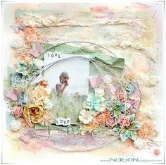 shabby chic scrapbook layout with Shimmerz Paints by Lene