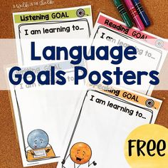 ESL Language Goals Posters - perfect for displaying whole class or small group instructional goals for Listening, Speaking, Reading and Writing. FREE DOWNLOAD Reading Goals, English Language Learners, Teaching English, Esl, Small Groups, Student, Posters, Writing, Learning