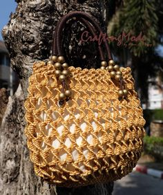 Medium size MacrameWeaving Bag Basket RopeHandmadeBirch