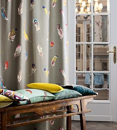 Birds Gallery Fabric by Zimmer + Rohde Cool Curtains, Modern Curtains, Curtains With Blinds, Curtain Fabric, Linen Fabric, Rideaux Design, Made To Measure Curtains, Fabric Birds, Curtain Designs