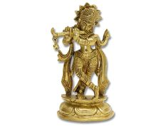 Antiquated and beautiful, this brass Krishna statue will be a great addition to any formal space or prayer room.