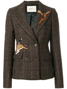 Shop Mulberry bird patch double breasted jacket.