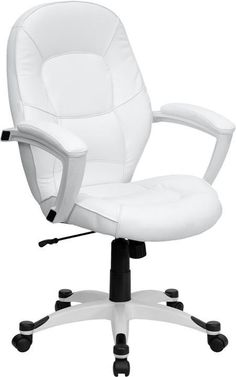 Mid-Back White Leather Executive Office Chair QD-5058M-WHITE-GG by Flash Furniture