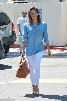 Pins on parade:Showing off her toned legs, the actress, 41, looked great as she slipped i...