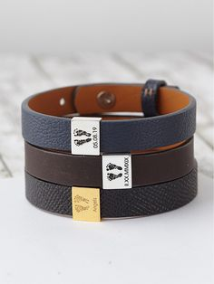 Grandpa Bracelet Free Delivery Hand Stamped Gift Boxed Leather Braided