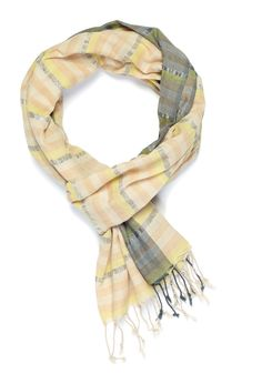 Handwoven yellow, pink, ivory striped scarf with silver zari.  Content: 100% Cotton. Dimensions: 75 x 35  This incredibly soft cotton scarf used