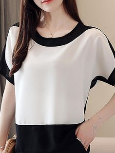 Round Neck Patchwork Color Block Blouses Find latest women's clothing, dresses, tops, outerwear, and other fashion clothing and enjoy the worldwide shipping # Latest Fashion Clothes, Fashion Outfits, Womens Fashion, Fashion Styles, Fashion Online, Cheap Womens Tops, One Shoulder Tops, Trendy Tops, Buy Dress