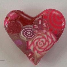 Polymer Clay Pink Heart Fridge Magnet